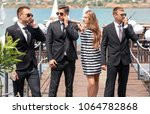 young celebrity with bodyguards ... | Shutterstock . vector #1064782868