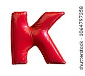 red letter k made of inflatable ... | Shutterstock . vector #1064797358