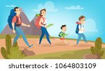 family hiking outdoors with... | Shutterstock .eps vector #1064803109