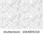 vector cafe pattern. cafe... | Shutterstock .eps vector #1064804210
