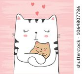 Stock vector vector illustration of hand drawn sketch white cat hugs his baby with hearts on scratched grunge 1064807786
