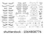 hand drawn floral ornaments.... | Shutterstock .eps vector #1064808776