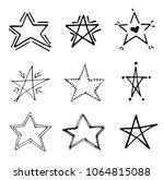 stars doodle black vector... | Shutterstock .eps vector #1064815088