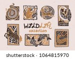 vintage collection of stylized... | Shutterstock .eps vector #1064815970