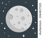 moon flat design with stars | Shutterstock .eps vector #1064817320