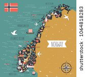 norway travel cartoon vector... | Shutterstock .eps vector #1064818283