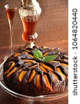 Chocolate cake with peaches