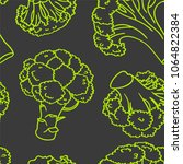 broccoli hand drawn vector... | Shutterstock .eps vector #1064822384