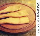 wooden plate on wooden... | Shutterstock . vector #1064825843