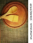 wooden plate on wooden...   Shutterstock . vector #1064825939
