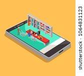 online shopping isometric... | Shutterstock .eps vector #1064831123