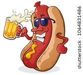 hot dog cartoon character... | Shutterstock .eps vector #1064831486