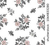 vector seamless dry floral... | Shutterstock .eps vector #1064833280
