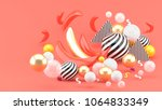 gold and pink bananas amid... | Shutterstock . vector #1064833349