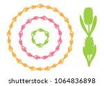 set of round vintage floral... | Shutterstock .eps vector #1064836898