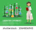 chemist woman or biological... | Shutterstock .eps vector #1064836943