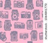 vector seamless grey on pink... | Shutterstock .eps vector #1064841770