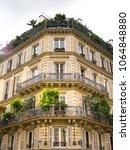 typical parisian house facade... | Shutterstock . vector #1064848880