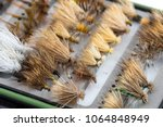 dry flies in a fly box or case... | Shutterstock . vector #1064848949