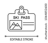 ski pass badge linear icon.... | Shutterstock .eps vector #1064852600