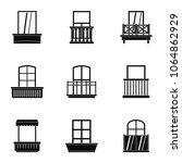 house balcony icon set. simple... | Shutterstock . vector #1064862929
