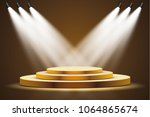golden podium with a spotlight ... | Shutterstock .eps vector #1064865674