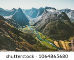 landscape mountains aerial view ... | Shutterstock . vector #1064865680