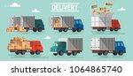 unloading or loading trucks.... | Shutterstock . vector #1064865740