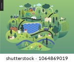 magical summer landscape  ... | Shutterstock .eps vector #1064869019