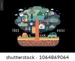 tree house concept   a tree... | Shutterstock .eps vector #1064869064