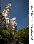 Small photo of Philadelphia, Pennsylvania, USA – August 3, 2016: Vertical shot of the Town Hall tower, Philadelphia, Pennsylvania