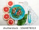 light breakfast in a... | Shutterstock . vector #1064878313