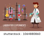 scientist woman at laboratory... | Shutterstock .eps vector #1064880860