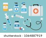 medicine.  first aid kit ... | Shutterstock .eps vector #1064887919