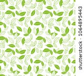 hand drawn green tea leaves or... | Shutterstock .eps vector #1064895443
