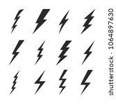 thunder sign set. flash icons.... | Shutterstock .eps vector #1064897630