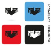 set of gifts and heart flat...