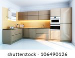 Stock photo new kitchen interior with brown lacquer boxes facades 106490126