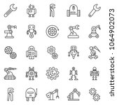 thin line icon set   wrench... | Shutterstock .eps vector #1064902073
