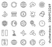 thin line icon set   around the ... | Shutterstock .eps vector #1064913269