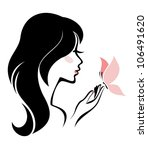 woman with butterfly  body care ... | Shutterstock .eps vector #106491620