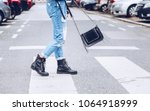 fashion blogger outfit details. ... | Shutterstock . vector #1064918999