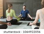 yoga teacher and beginners in... | Shutterstock . vector #1064922056