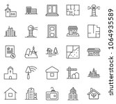 thin line icon set  ... | Shutterstock .eps vector #1064935589
