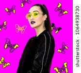 swag brunette model hipster... | Shutterstock . vector #1064938730