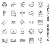 thin line icon set   tablet pc... | Shutterstock .eps vector #1064949680