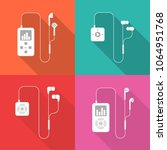 set of mp3 players flat icons...