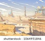 fantastic city desert. concept... | Shutterstock .eps vector #1064951846