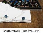 cufflinks with shirt on the... | Shutterstock . vector #1064968544