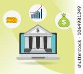 laptop with bank app finance... | Shutterstock .eps vector #1064981249